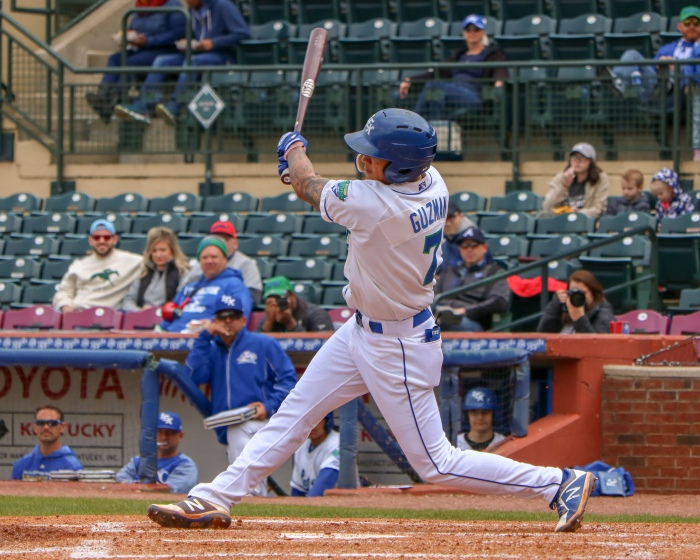 Jeison Guzman, SS, Lexington Legends, Takes A Big Swing