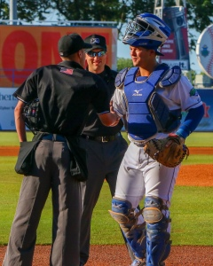 Chase Vallot, C, Lexington Legends, Greets the Umps