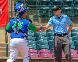 Chase Vallot, C, Lexington Legends, Shakes Hands With Umpire Nolan Earley